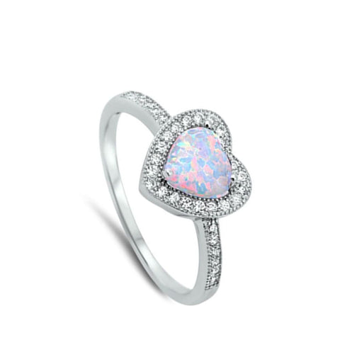 Image of Rings $24.55 Heart White Lab Opal with Clear CZ Halo Set in Sterling Silver Band Size 4-12 clear cubic-zirconia cz heart heart-shaped
