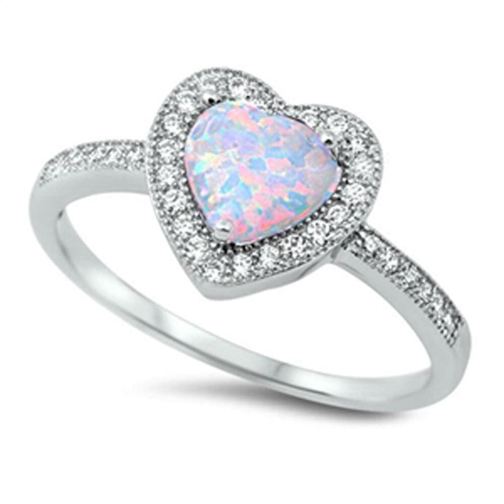 Rings $24.55 Heart White Lab Opal with Clear CZ Halo Set in Sterling Silver Band Size 4-12 clear cubic-zirconia cz heart heart-shaped