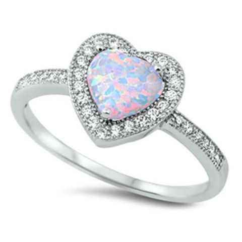 Image of Rings $24.55 Heart White Lab Opal with Clear CZ Halo Set in Sterling Silver Band Size 4-12 badge-toprated clear cubic-zirconia cz heart