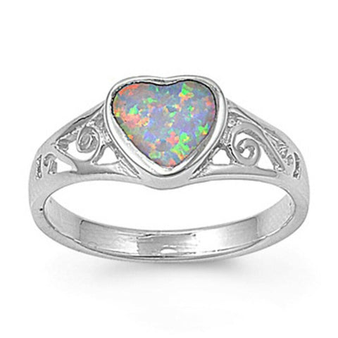 Image of Rings $30.43 Heart White Lab Opal with Filigree Design in Sterling Silver Band 25-50 filigree opal rings size-5