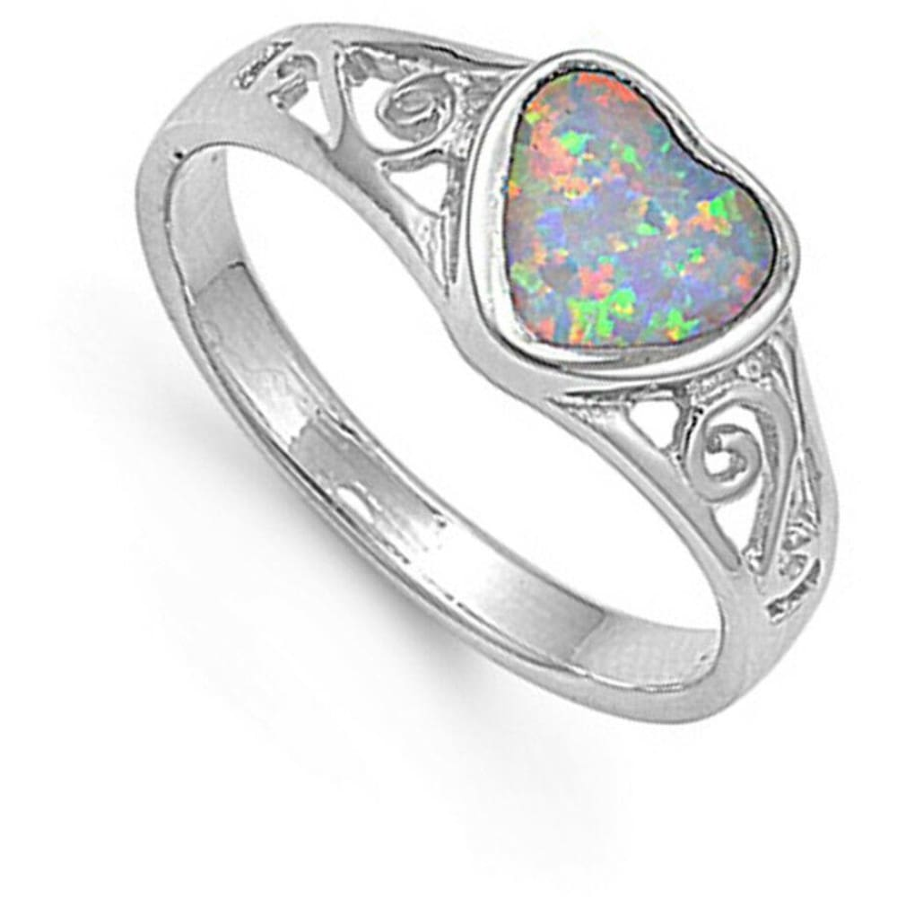 Rings $30.43 Heart White Lab Opal with Filigree Design in Sterling Silver Band 25-50 filigree opal rings size-5