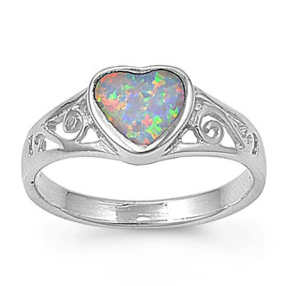 Rings $30.43 Heart White Lab Opal with Filigree Design in Sterling Silver Band 25-50 badge-toprated filigree heart heart-shaped