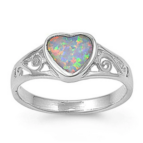 Image of Rings $30.43 Heart White Lab Opal with Filigree Design in Sterling Silver Band 25-50 badge-toprated filigree heart heart-shaped