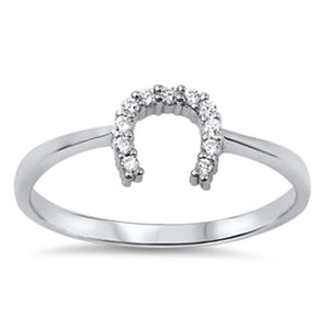 Horseshoe U Clear CZ Stones Set in Sterling Silver Ring 4-10