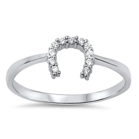 Image of Rings $18.04 Horseshoe U Clear CZ Stones Set in Sterling Silver Ring 4-10 clear cubic-zirconia cz size-10 size-4