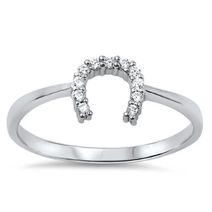 Rings $18.04 Horseshoe U Clear CZ Stones Set in Sterling Silver Ring 4-10 clear cubic-zirconia cz rings size-10