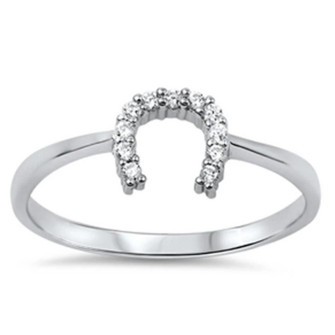 Image of Rings $18.04 Horseshoe U Clear CZ Stones Set in Sterling Silver Ring 4-10 clear cubic-zirconia cz rings size-10