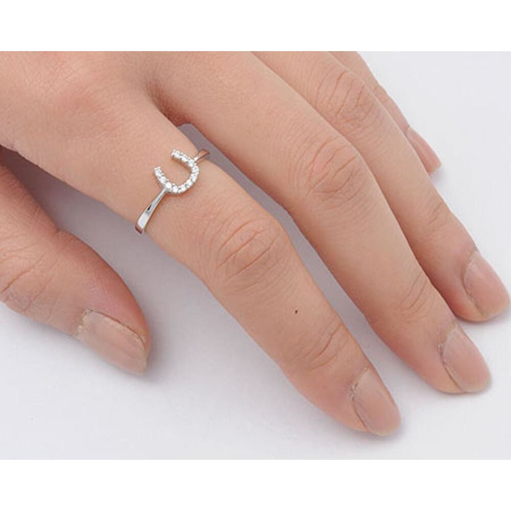 Rings $18.04 Horseshoe U Clear CZ Stones Set in Sterling Silver Ring 4-10 clear cubic-zirconia cz size-10 size-4