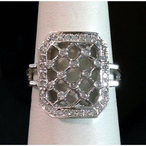 Lattice Style Diamond Ring - 14k White Gold 0.28 Carats