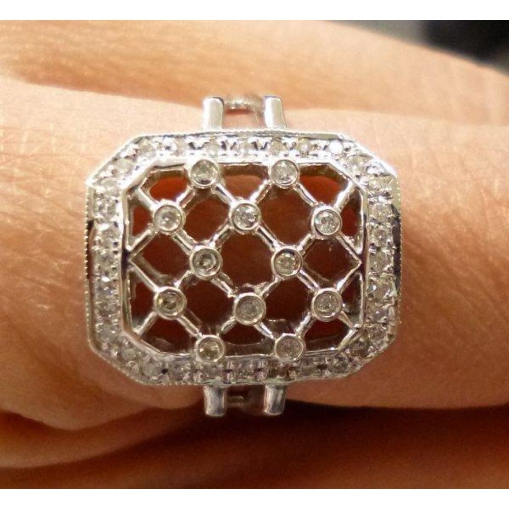 Rings $599.99 Lattice Style Diamond Ring - 14K White Gold 0.28 Carats Bezel Halo