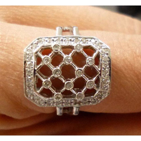 Image of Rings $599.99 Lattice Style Diamond Ring - 14K White Gold 0.28 Carats Bezel Halo