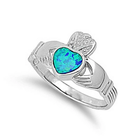 Image of Rings $30.64 Light Blue Lab Opal Claddagh Ring Sizes 5-9 25-50 badge-toprated blue claddagh er