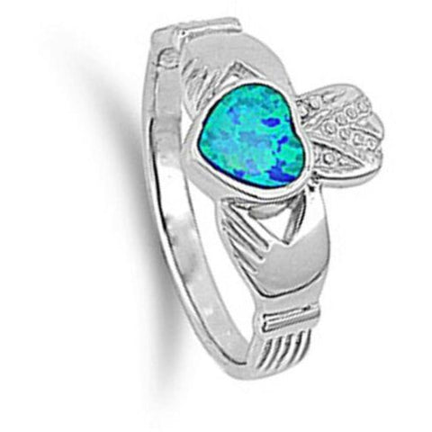 Image of Rings $30.64 Light Blue Lab Opal Claddagh Ring Sizes 5-9 25-50 blue claddagh opal rings