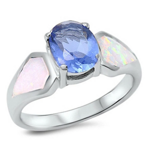 Rings $47.99 Light Blue Oval Cubic Zirconia and White Opal Sterling Silver Ring 25-50 badge-toprated blue cubic-zirconia cz