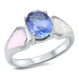 Light Blue Oval Cubic Zirconia and White Opal Sterling Silver Ring