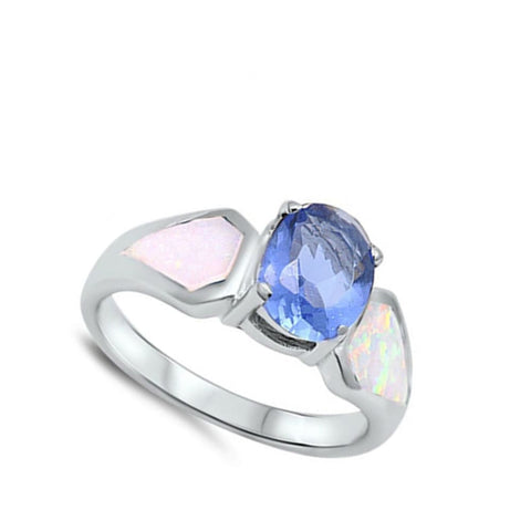 Rings $47.99 Light Blue Oval Cubic Zirconia and White Opal Sterling Silver Ring blue cz opal white