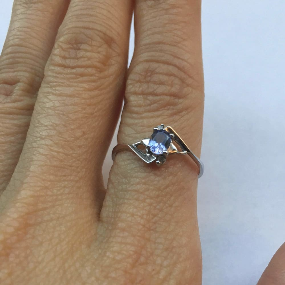 Rings $199.99 Light Blue Tanzanite And Diamond Ring - 10K White Gold Colored Stones Oval Purple