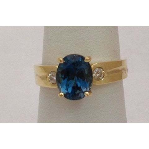 Image of Rings $399.00 London Blue Topaz Gold Ring - Yellow Gold W 2 Diamond Accents Blue Colored Stones Oval Yg