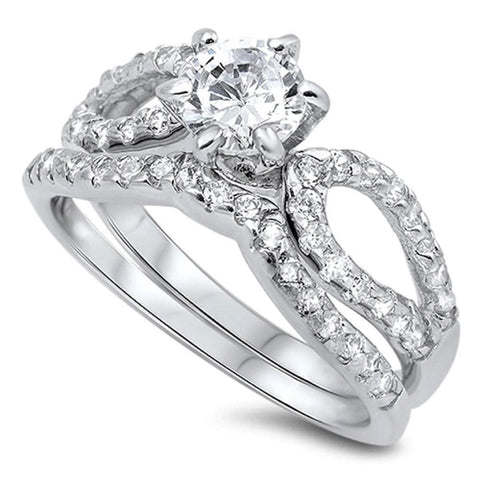 Image of Rings $53.18 Looped 1 Carat Bridal Engagement Ring Set with Curved Band Sterling Silver 1-carat Bridal Sets cz er sterling-silver
