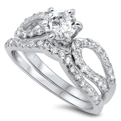 Image of Rings $53.18 Looped 1 Carat Bridal Engagement Ring Set with Curved Band Sterling Silver 1-carat 50-100 badge-toprated Bridal Sets
