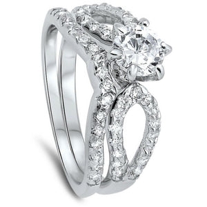 Looped 1 Carat Bridal Engagement Ring Set with Curved Band Sterling Silver
