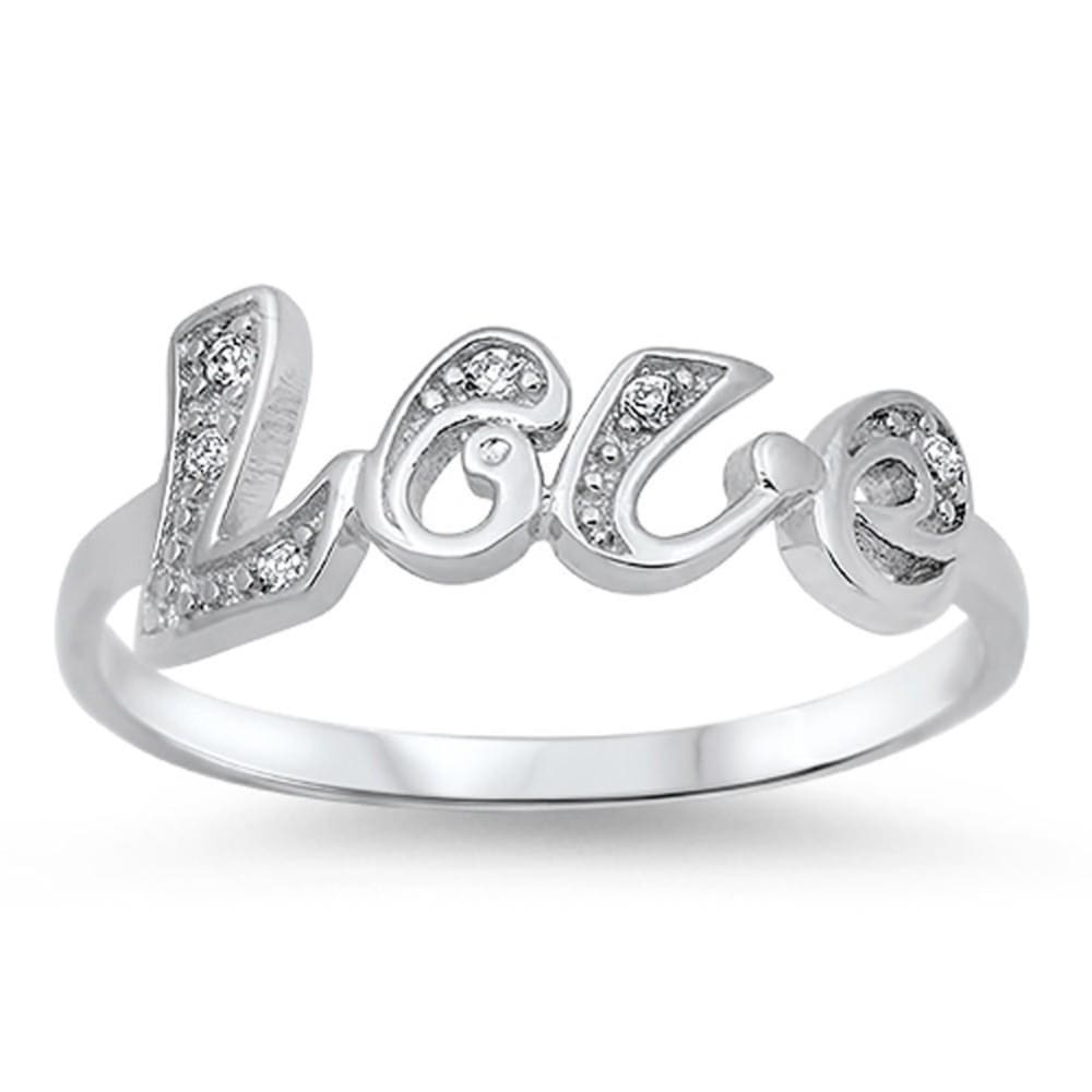 Rings $25.99 Love Text Sterling Silver Ring With Set Cubic Zirconia Letters Abc Cz