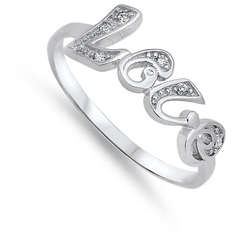 Image of Rings $25.99 Love Text Sterling Silver Ring With Set Cubic Zirconia Letters Abc Cz