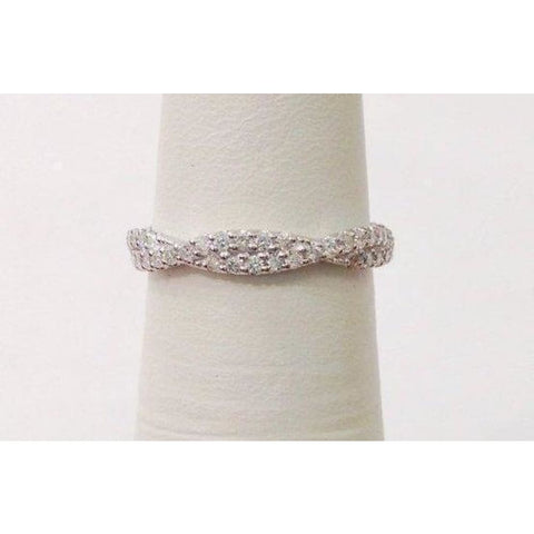 Image of Rings $899.99 Love Twisted Diamond Wedding Band - Infinity Ring 14K White Gold Band Rg Yg