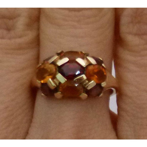 Image of Rings $499.99 Luxinelle Citrine And Garnet Yellow Gold Ring - Multicolor Orange And Brown Brown Colored Stones Orange Oval Yg