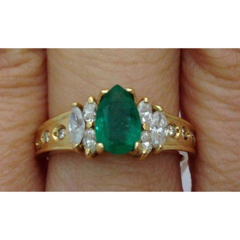 Image of Rings $499.00 Luxinelle Pear Cut Natural Emerald With Marquise And Round Diamonds - 14K Yellow Gold Green Marquise Pear Yg