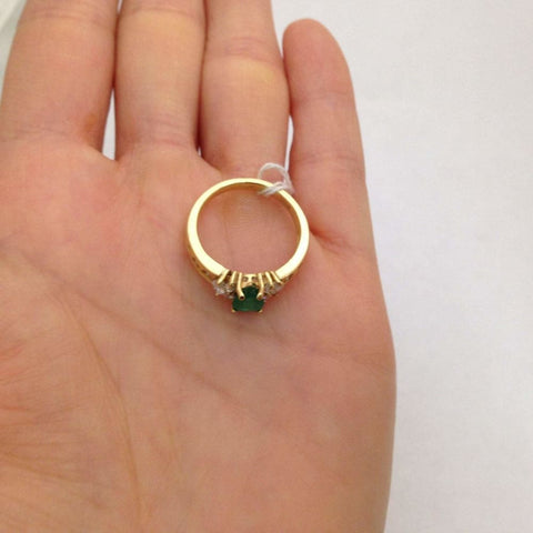 Rings $499.00 Luxinelle Pear Cut Natural Emerald With Marquise And Round Diamonds - 14K Yellow Gold Green Marquise Pear Yg