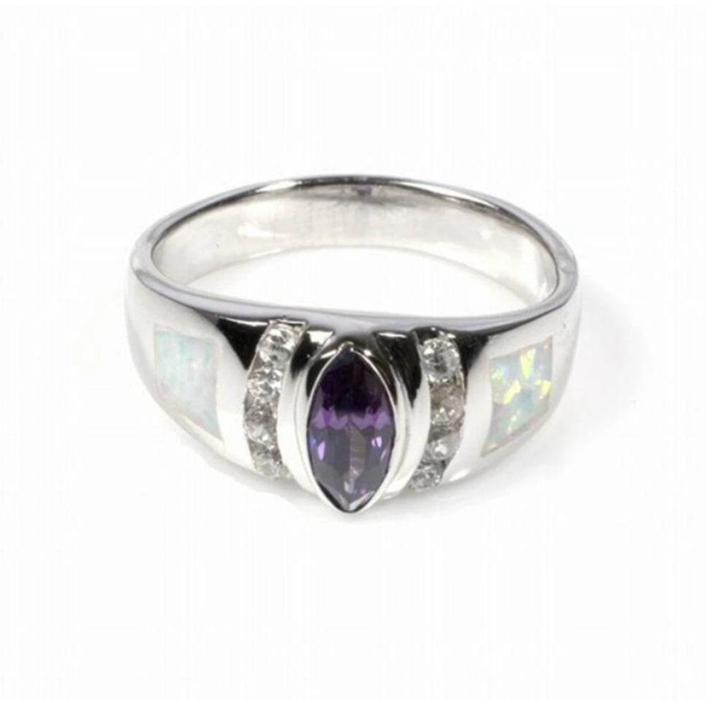 Rings $61.93 Marquise Amethyst Cubic Zirconia and Clear Round CZ Stones with White Opal Set in Band 50-100 amethyst badge-toprated clear