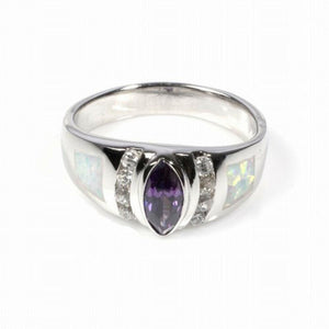Marquise Amethyst Cubic Zirconia and Clear Round CZ Stones with White Opal Set in Band