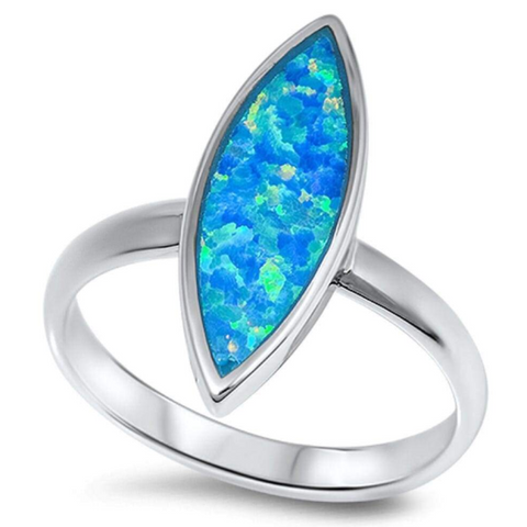 Rings $60.44 Marquise Cut Blue Lab Opal Set in a Sterling Silver Band 25-50, badge-toprated, blue, er, opal