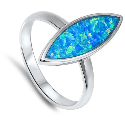 Image of Rings $37.36 Marquise Cut Blue Lab Opal Set in a Sterling Silver Band blue opal solitaire