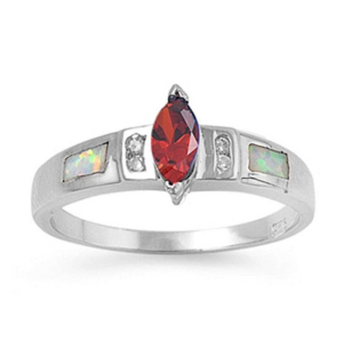 Image of Rings $51.36 Marquise Garnet CZ Stone with Clear CZ Stones and White Lab Opal Smooth Inlay Ring 25-50, badge-toprated, clear,