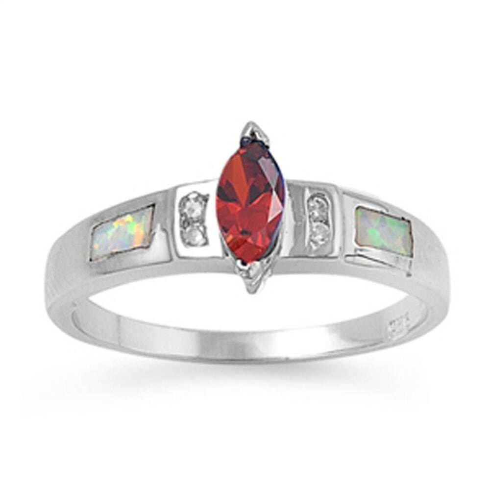 Rings $30.64 Marquise Garnet CZ Stone with Clear CZ Stones and White Lab Opal Smooth Inlay Ring 25-50 clear cubic-zirconia cz garnet