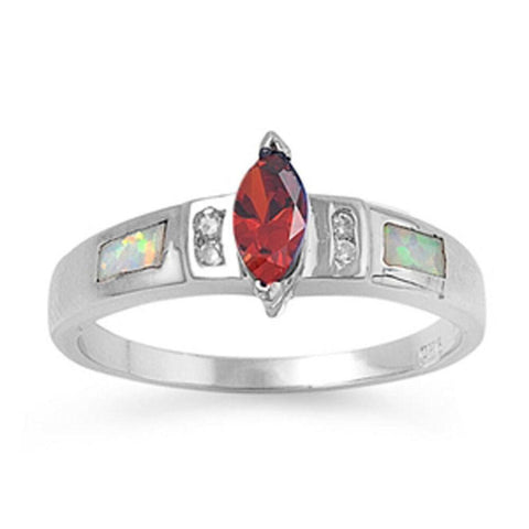 Image of Rings $30.64 Marquise Garnet CZ Stone with Clear CZ Stones and White Lab Opal Smooth Inlay Ring 25-50 clear cubic-zirconia cz garnet