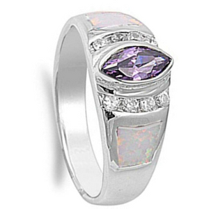 Rings $72.32 Marquise Simulated Amethyst CZ Stone with Round Clear Cubic Zirconia and White Opal in Band 50-100, amethyst, badge-toprated,