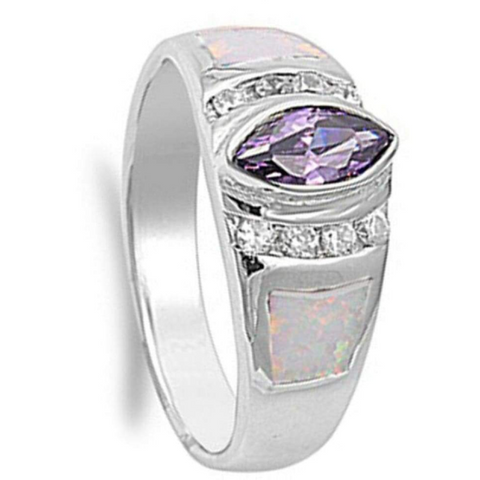 Image of Rings $72.32 Marquise Simulated Amethyst CZ Stone with Round Clear Cubic Zirconia and White Opal in Band 50-100, amethyst, badge-toprated,