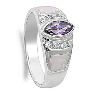 Marquise Simulated Amethyst CZ Stone with Round Clear Cubic Zirconia and White Opal in Band