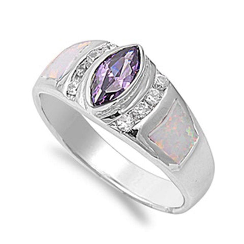 Rings $55.63 Marquise Simulated Amethyst CZ Stone with Round Clear Cubic Zirconia and White Opal in Band amethyst clear cubic-zirconia cz