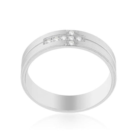 Image of Rings $41.10 Mens Cubic Zirconia Religious Cross 6mm Stainless Steel Band JGI 6mm band Cross cz mens