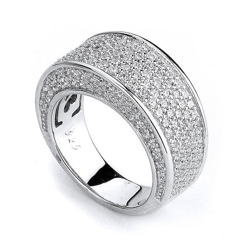 Image of Rings $252.00 Micro Pave Cz Big And Wide Band Big Formal Occasion