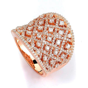 Micro Pave CZ Lace Crosshatch Wide Ring