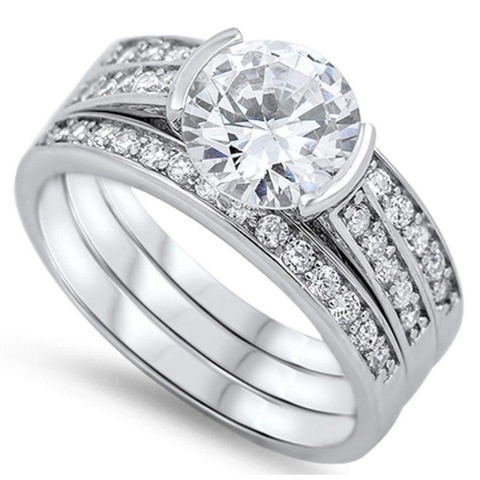 Rings $76.38 Modern 1 Carat Engagement Ring with Matching 2mm Band Set 1-carat, 2mm, 50-100, badge-toprated, Bridal Sets
