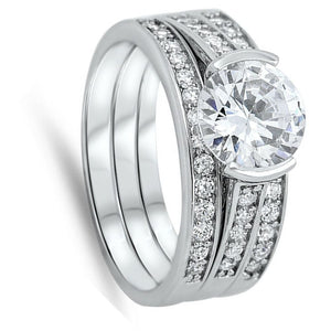 Modern 1 Carat Engagement Ring with Matching 2mm Band Set