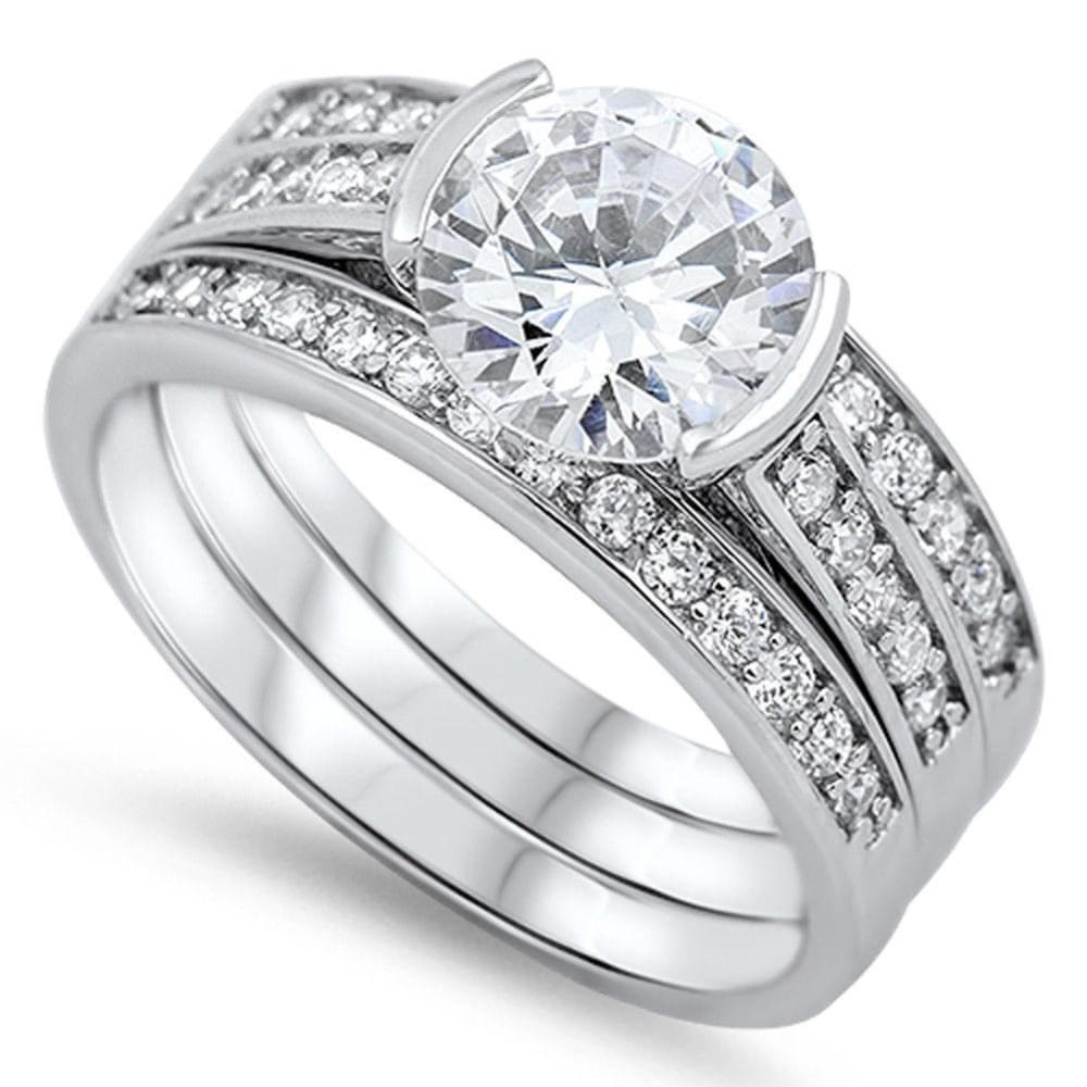 Rings $76.38 Modern 1 Carat Engagement Ring with Matching 2mm Band Set