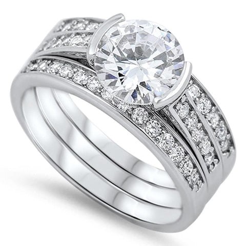Image of Rings $76.38 Modern 1 Carat Engagement Ring with Matching 2mm Band Set