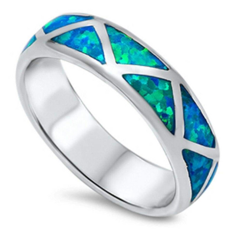 Rings $69.32 Mosaic Blue Lab Opal Smooth Inlay Sterling Silver Ring 50-100, badge-toprated, blue, opal, rings